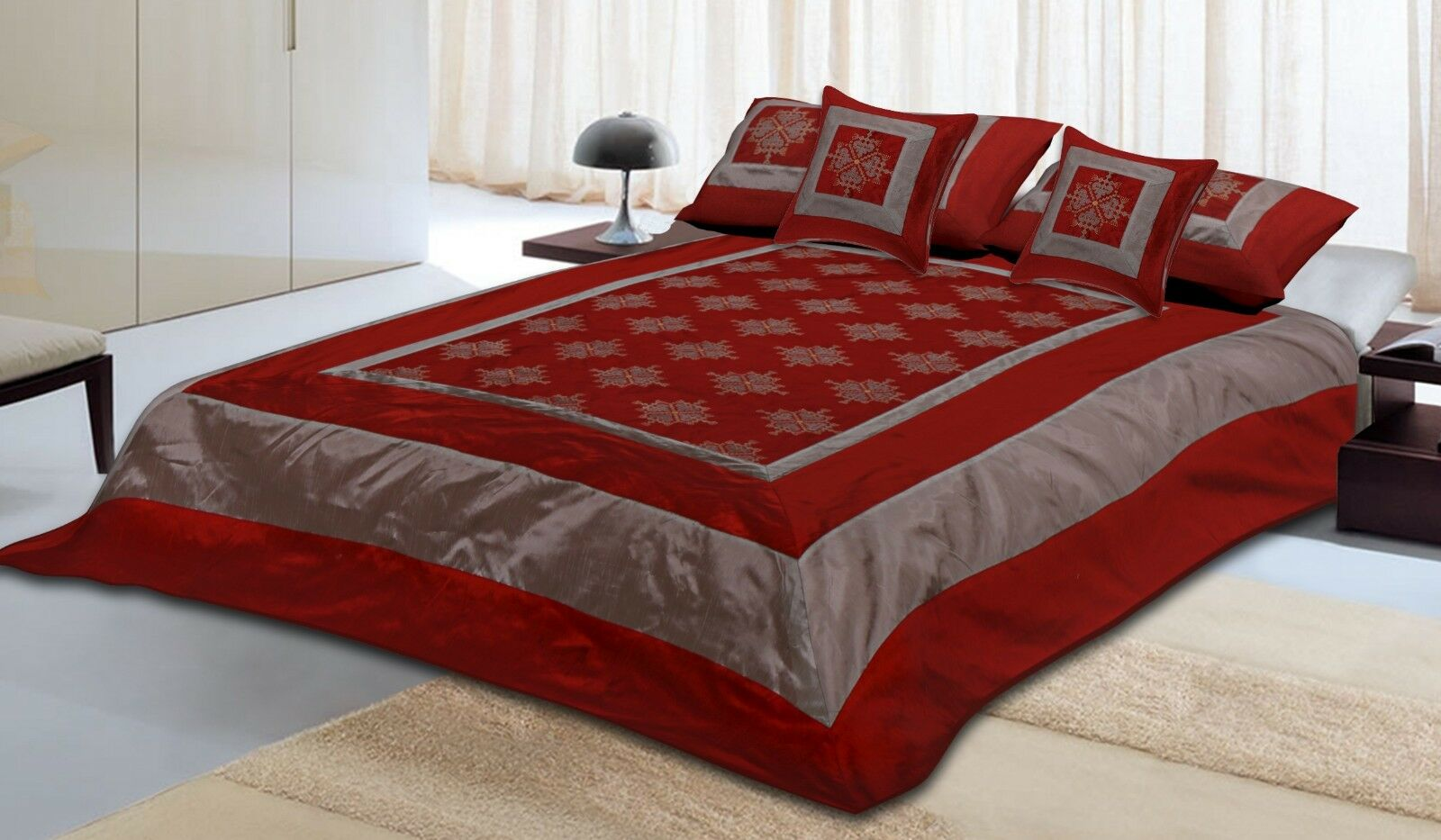 Brocade Silk 5 PC Bedding Set Traditional Bed Sheet With Pillow Cases