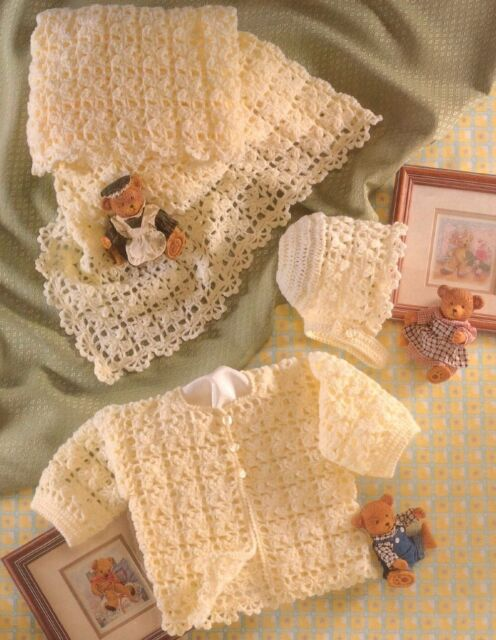 (123) 4Ply Crochet Pattern for Baby Jacket, Shawl and Bonnet