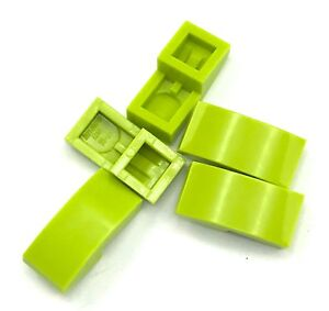 Lego-5-New-Lime-Slopes-Curved-2-x-1-Sloped-No-Studs-Pieces