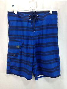 332690c0a9 The North Face Swim Trunks Board Shorts Mens 30 Blue Stripe Cargo ...