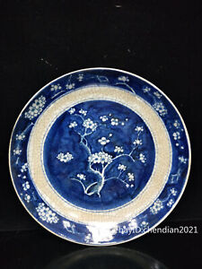 """11.2""""China antique Qing Dynasty Blue and white porcelain Ice plumOpen film plate"""