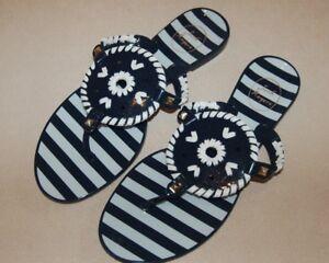 New-Jack-Rogers-Striped-Georgica-Jelly-Sandals-Flip-Flops-Navy-Blue-White-7-8