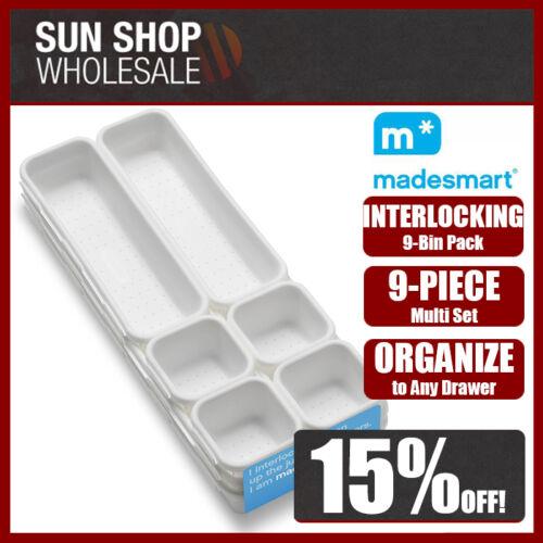 D.LINE MadeSmart Interlocking 9-Bin Pack White Set of 9 Drawer Storage Organizer