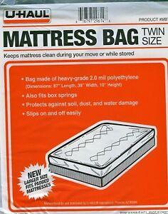 Uhaul Mattress Bag Twin Size 87 L 39 W 10 H Plastic
