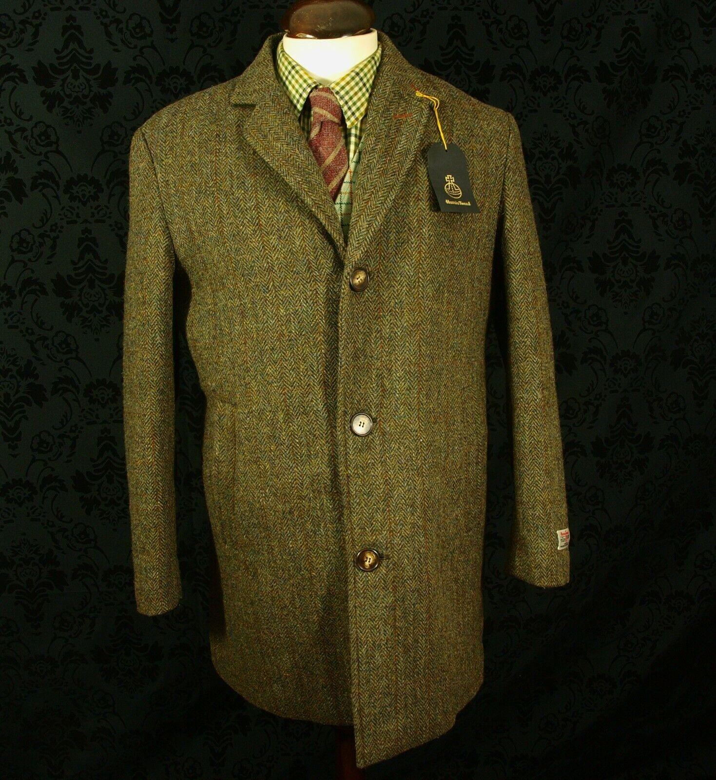 Bnwt Harris Tweed Coat Overcoat Rare Padded medium 40 M slim 42 L caldene (1F)