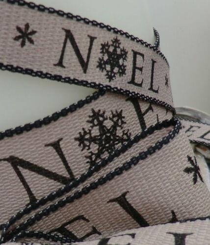 "25mm x1m CHRISTMAS RIBBON RUSTIC,SCANDI /""NOEL/""CREAM,RED,BLACK GIFT,BOW 15mm"