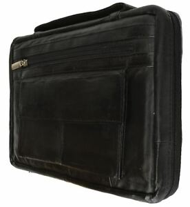 Black-Genuine-Leather-Bible-Book-Cover-Zippered-Bag-Organizer-Case