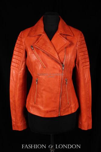 cuir cintrée Veste orange véritable femme en d'agneau Jenner ajustée cuir pour en délavé xfxZgYq