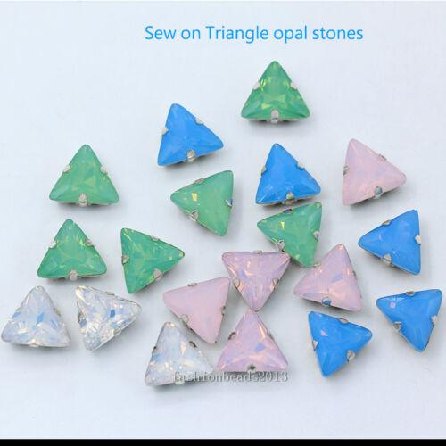 15p 10mm opal triangle crystal glass stone sew on rhinestone jewels clothes trim