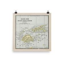 1898 Vintage Cartographic Map Print Rand McNally Atlas Map of Hawaii