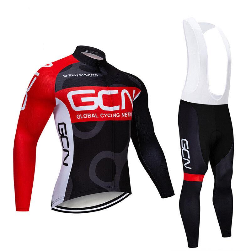 Da Uomo in Pile Termici Ciclismo in jersey a uomoiche lunghe Bib Pantaloni Set Ciclismo Bib Pantaloni