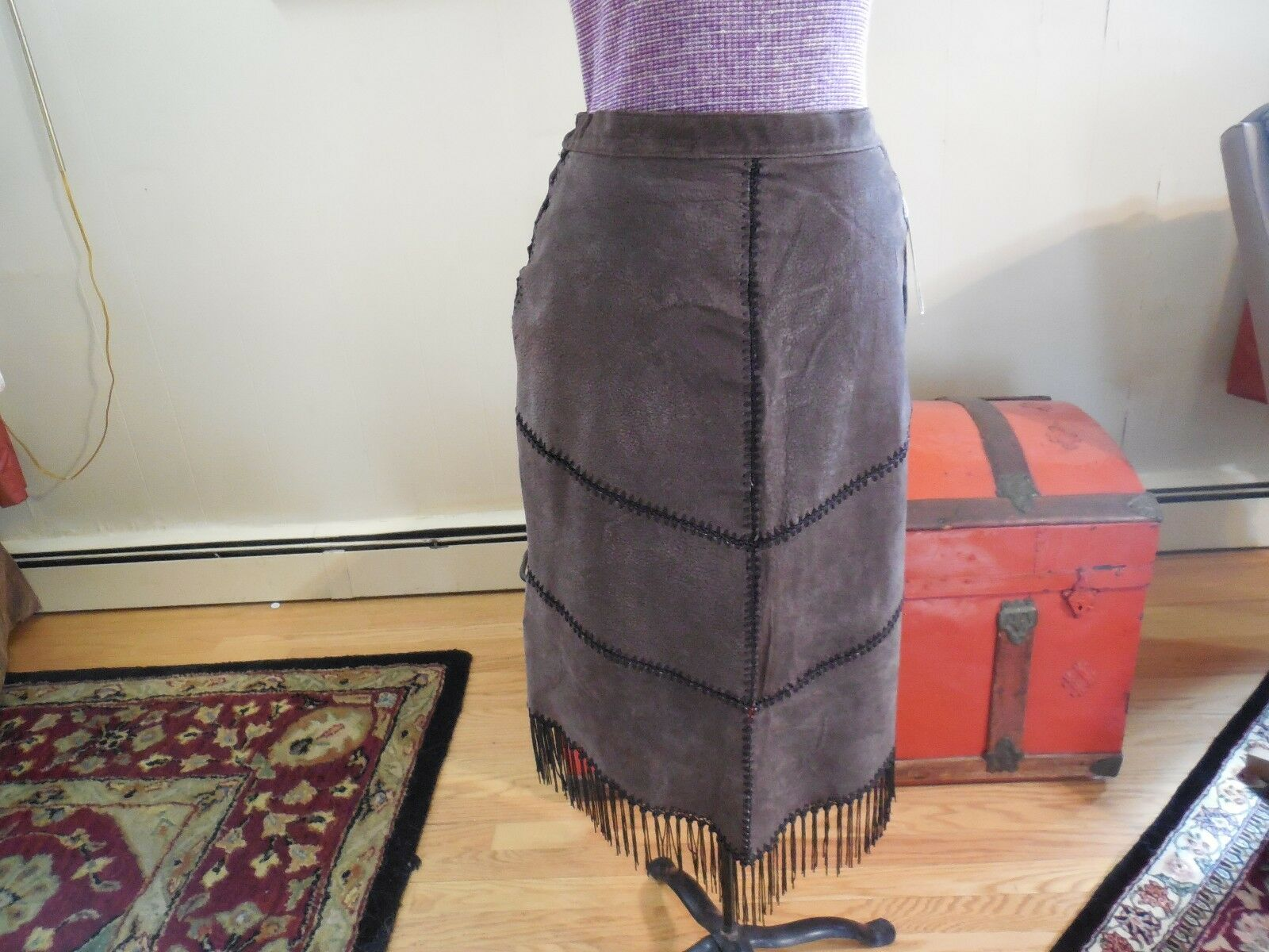 Robert Louis Suede Skirt with Fringe - Size Small - color Brown