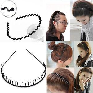 Black Zig Zag Metal Wave Toothed Hoop Clasp Headband Casual Sports ... 690318293de