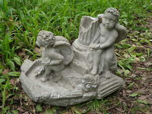 Image Is Loading Vtg Cement 11 034 Tall 2 Angel Cherub