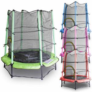 Kindertrampolin-140cm-Indoor-und-Outdoor-mit-Sicherheitsnetz-Randabdeckung