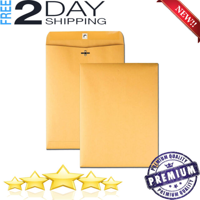 Quality Park 9 x 12 Clasp Envelopes Mailer Gummed Flap Brown Kraft 100 ct.