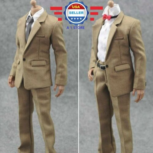 1/6 Scale KHAKI Color Suit Full set w/ Tie and Bow Tie for 12 Male Figure Doll