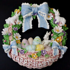 1996 Happy Easter Bunny Rabbit Eggs Easter Resin Wreath ABC Distributing 59054