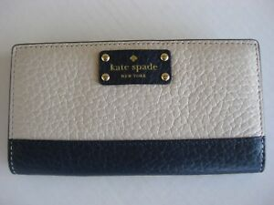 NEW-Kate-Spade-Stacy-Bay-Street-Bifold-Leather-Wallet-color-Pebble-Navy-NWT