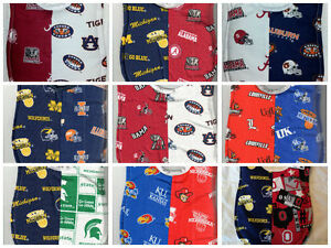 Handmade House Divided Baby Bibs made with NCAA fabric