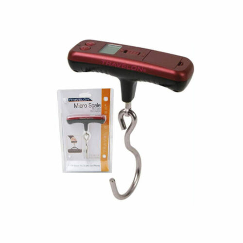 Travelon Luggage Scale Micro Digital Hanging Travel Weight Portable Hook Red New