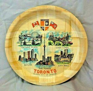 Vintage-Toronto-Queen-City-Of-Canada-Colorful-Bamboo-Serving-Tray-Souvenir