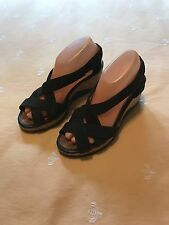 Womens CAMPER Black Strappy Wedge Cork Heel SANDALS Shoes Sz 38 8 EUC
