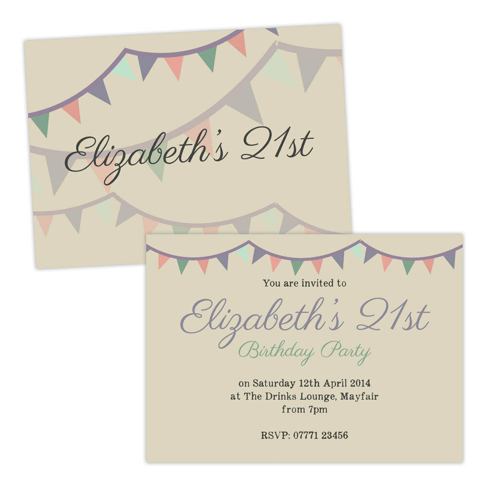 Personalised birthday party invitations PASTEL BUNTING VINTAGE FREE ENVELOPES &