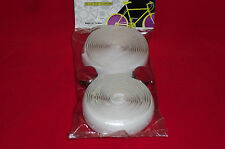 Vintage Style Padded Bicycle Handlebar Tape Wrap With Plugs White New