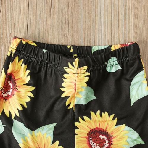 Toddler Kids Baby Girls off shoulder Tops Tee+Floral Bell-bottoms Pants Set US
