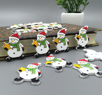 DIY Christmas Snowman Wooden Buttons Sewing Embellishments Scrapbooking 32mm