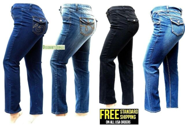 75baba8024 Womens Plus Size Curvy Stretch Relaxed Fit flap pocket Straight / Bootcut  Jeans