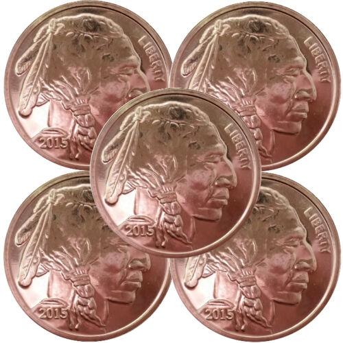 1 oz .999 Fine Copper Buffalo Round 5 piece lot SKU #11005
