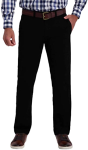 Haggar Mens Super Flex Travel Pant  34x30 black