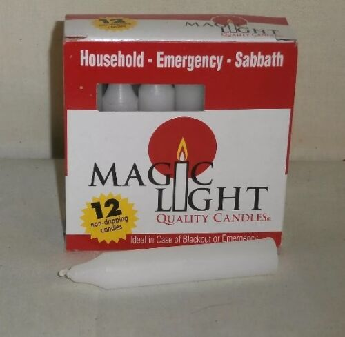 BOX OF 12  HOUSEHOLD GENERAL PURPOSE MAGIC LIGHT PARAFFIN CANDLES
