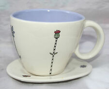 Mary Fellows Kooky Studio Pottery Tea cup and Saucer lavender lining to cup