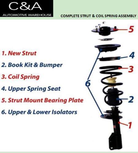 Front Complete Struts /& Coil Springs PAIR 2008-10 Chrysler Sebring Convertible