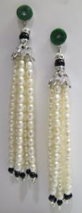 Freshwater Pearl Tassel Earrings, Long Beaded Tassel Stud Earrings, Dangle