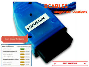 Details about BMW DIAGNOSTIC SOFTWARE CABLE EDIABAS INPA DIS SSS OBD LEAD  V44 V54 V57