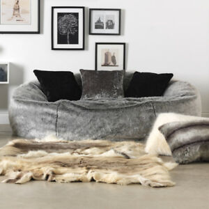 02fa4297ee Luxury XL Soft Faux Fur Bean Bag 2 People Love Seat Sofa Relax Chair Arctic  Wolf