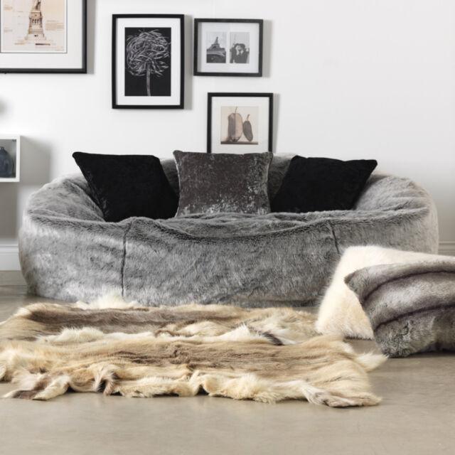 Extra Large Faux Fur Bean Bag - Love Seat Sofa - Two Seater Beanbag ARCTIC  GREY 2c00b3e7627b0