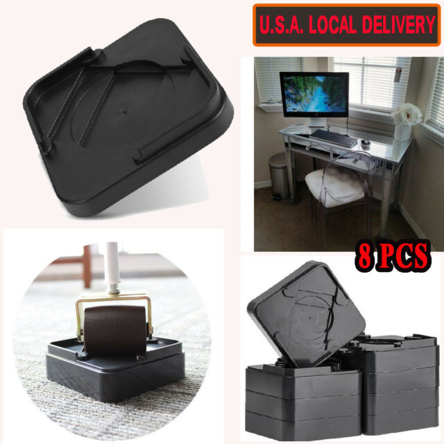 Attirant 8x Heavy Duty Bed Furniture Riser Computer Table Desk Leg Risers Sofa Lift  Black