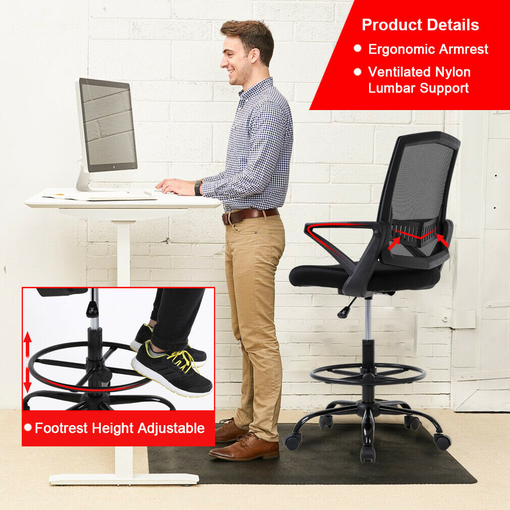 Mesh Drafting Chair Tall Office Chair Drafting Stool With Arms For Standing Desk Ebay