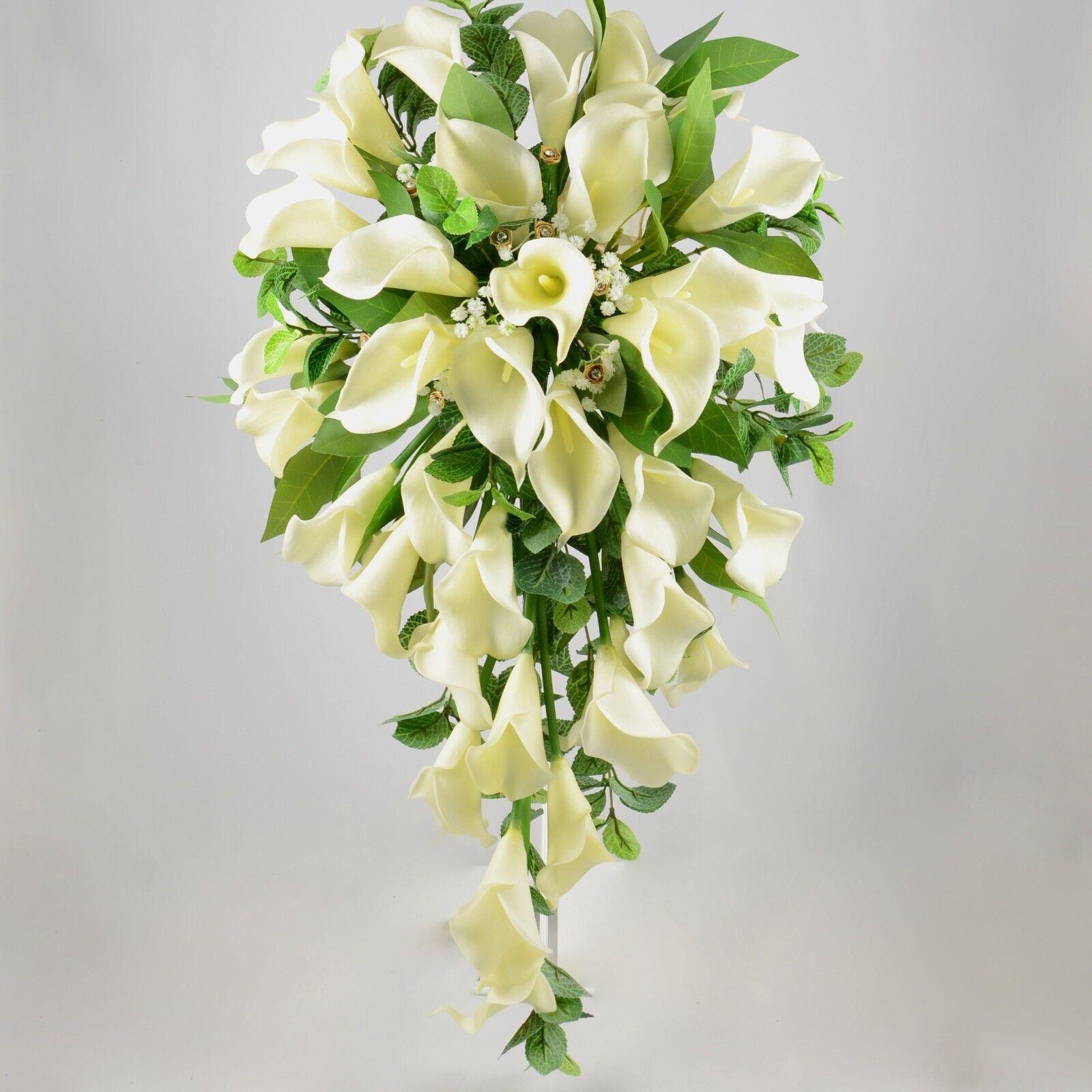 Artificielle Mariage fleurs soie Brides douche bouquet en Ivoire Crème Calla Lily