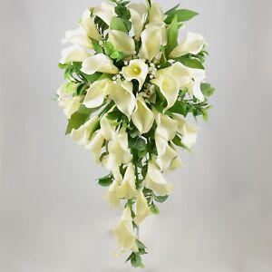 Artificial Wedding Flowers Silk Brides Shower Bouquet In Ivory Cream