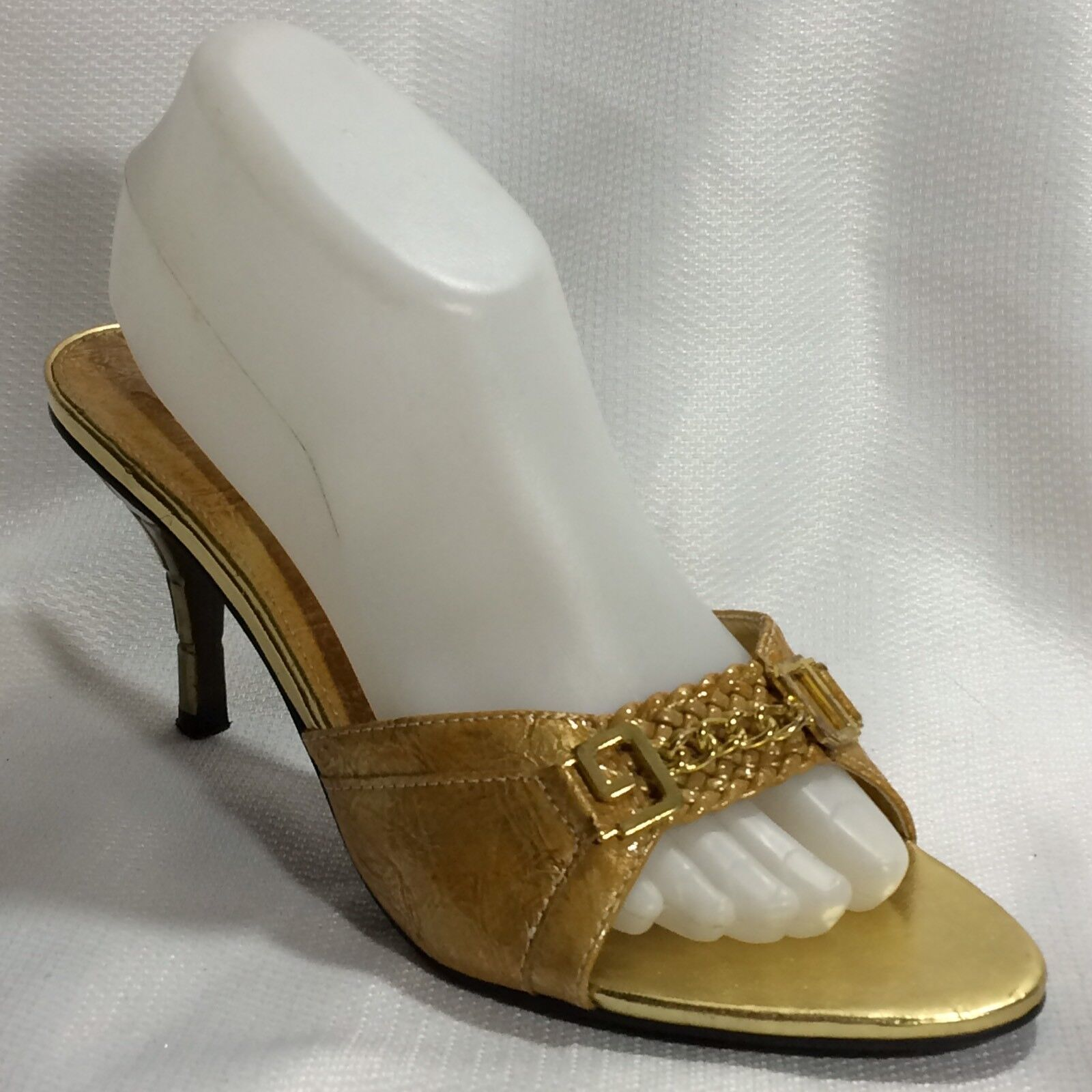 BOLARO by SUMMER RIO gold Slides Stiletto Heel shoes Horse Bit Chain Womens 10 M
