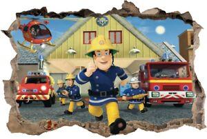 Details zu s29 Wandtattoo 120 cm Feuerwehrmann Sam Fireman Loch STICKER 3D  Wandaufkleber