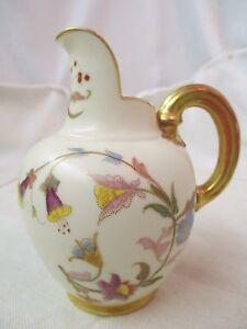 Antique-1896-England-Royal-Worcester-Pitcher-Flowers-gold-gilt-Flat-back-1094