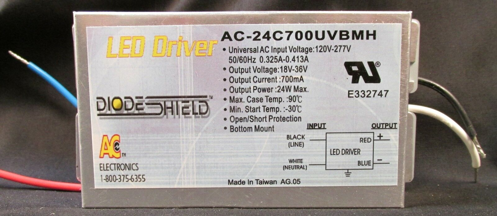 AC ELECTRONICS  AC-24C700UVBMH LED DRIVER 24 WATTS