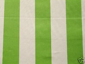 Apple Green And Off White Cotton Print Wide Stripe Upholstery